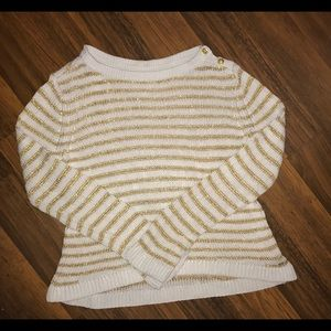 Gold and White Stripe Knit Sweater